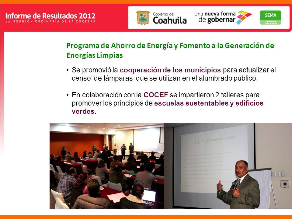 Programa de Ahorro de Energía y Fomento a la Generación de Energías Limpias Se promovió la cooperación de los municipios para actualizar el censo de lámparas que se utilizan en el alumbrado público.