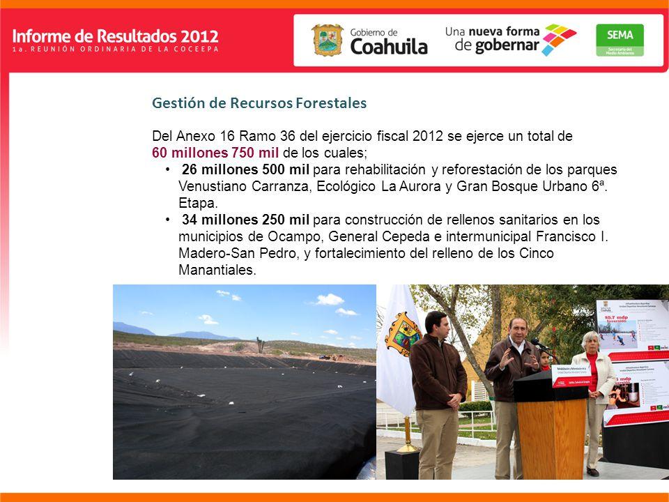 Gestión de Recursos Forestales Del Anexo 16 Ramo 36 del ejercicio fiscal 2012 se ejerce un total de 60 millones 750 mil de los cuales; 26 millones 500 mil para rehabilitación y reforestación de los parques Venustiano Carranza, Ecológico La Aurora y Gran Bosque Urbano 6ª.