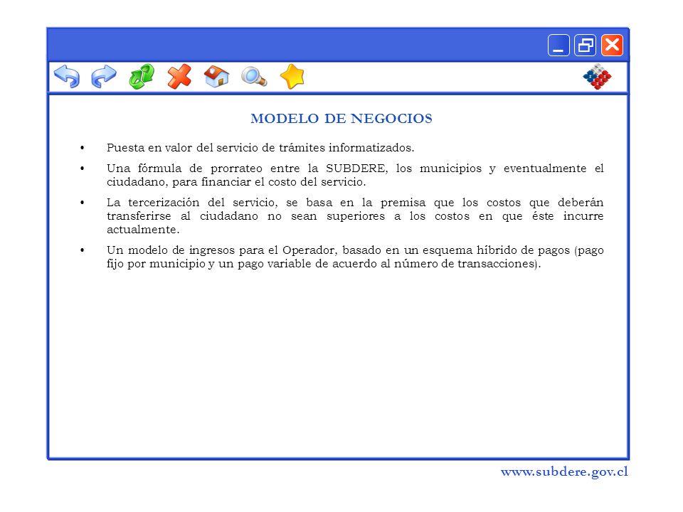  www.subdere.gov.cl MODELO DE NEGOCIOS Puesta en valor del servicio de trámites informatizados.