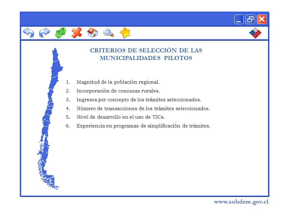  www.subdere.gov.cl CRITERIOS DE SELECCIÓN DE LAS MUNICIPALIDADES PILOTOS 1.Magnitud de la población regional.