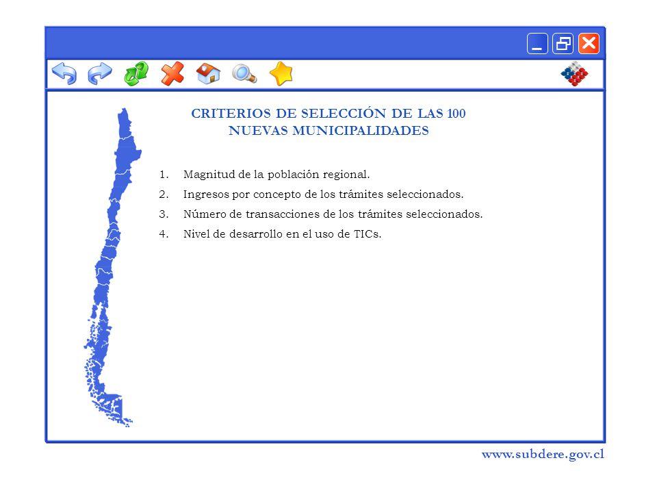  www.subdere.gov.cl CRITERIOS DE SELECCIÓN DE LAS 100 NUEVAS MUNICIPALIDADES 1.Magnitud de la población regional.