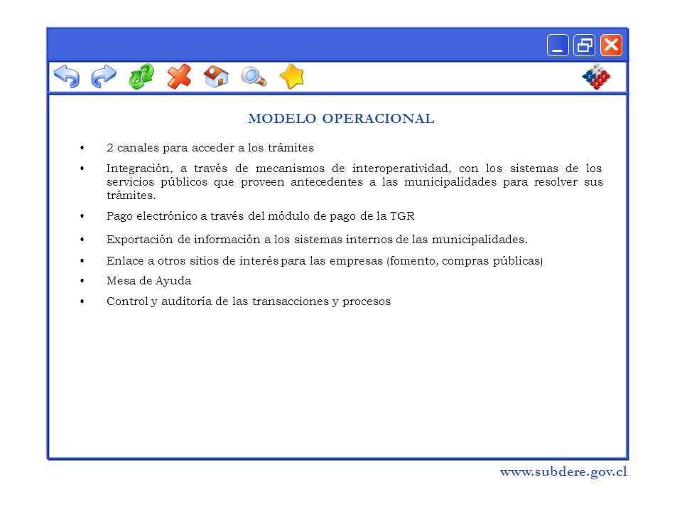  www.subdere.gov.cl MODELO OPERACIONAL 2 canales para acceder a los trámites Integración, a través de mecanismos de interoperatividad, con los sistemas de los servicios públicos que proveen antecedentes a las municipalidades para resolver sus trámites.