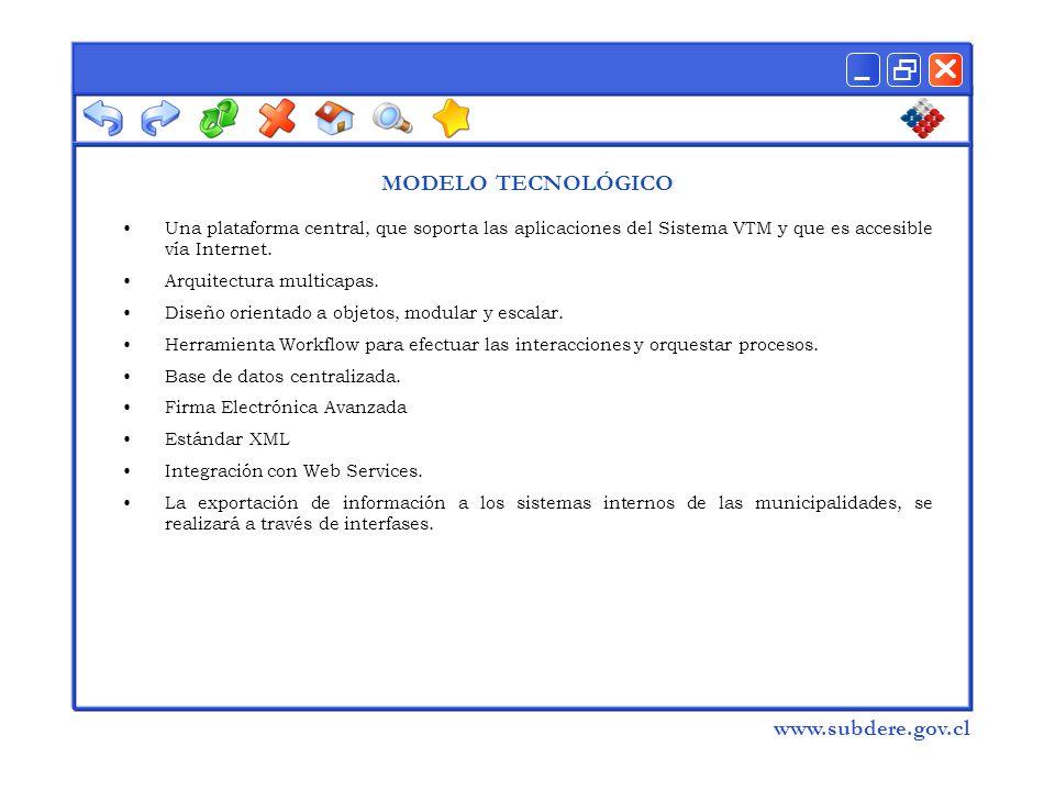  www.subdere.gov.cl MODELO TECNOLÓGICO Una plataforma central, que soporta las aplicaciones del Sistema VTM y que es accesible vía Internet.