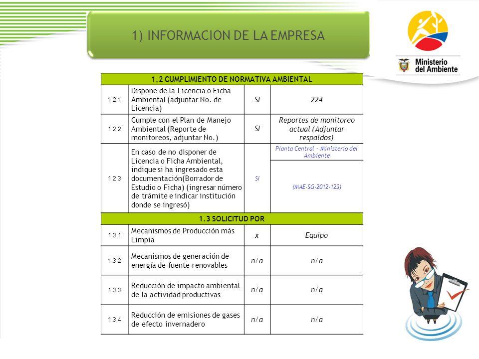 1) INFORMACION DE LA EMPRESA 1.2 CUMPLIMIENTO DE NORMATIVA AMBIENTAL 1.2.1 Dispone de la Licencia o Ficha Ambiental (adjuntar No.