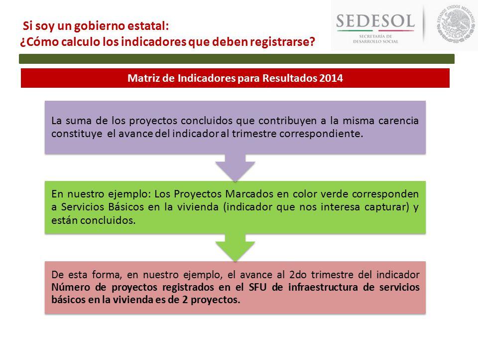 Matriz de Indicadores para Resultados 2014 De esta forma, en nuestro ejemplo, el avance al 2do trimestre del indicador Número de proyectos registrados en el SFU de infraestructura de servicios básicos en la vivienda es de 2 proyectos.