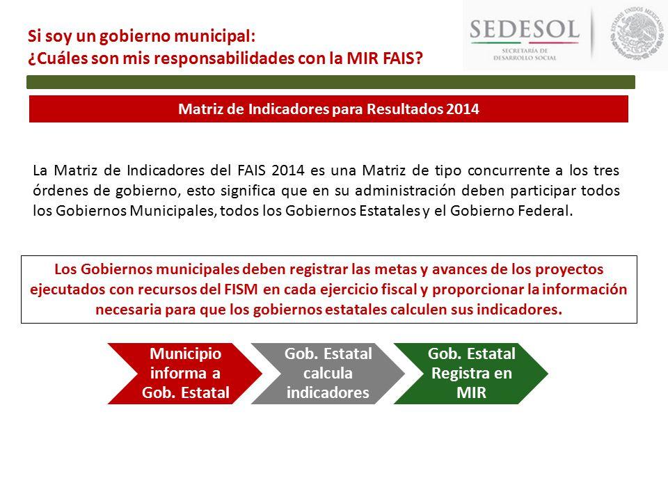 Matriz de Indicadores para Resultados 2014 Si soy un gobierno municipal: ¿Cuáles son mis responsabilidades con la MIR FAIS.