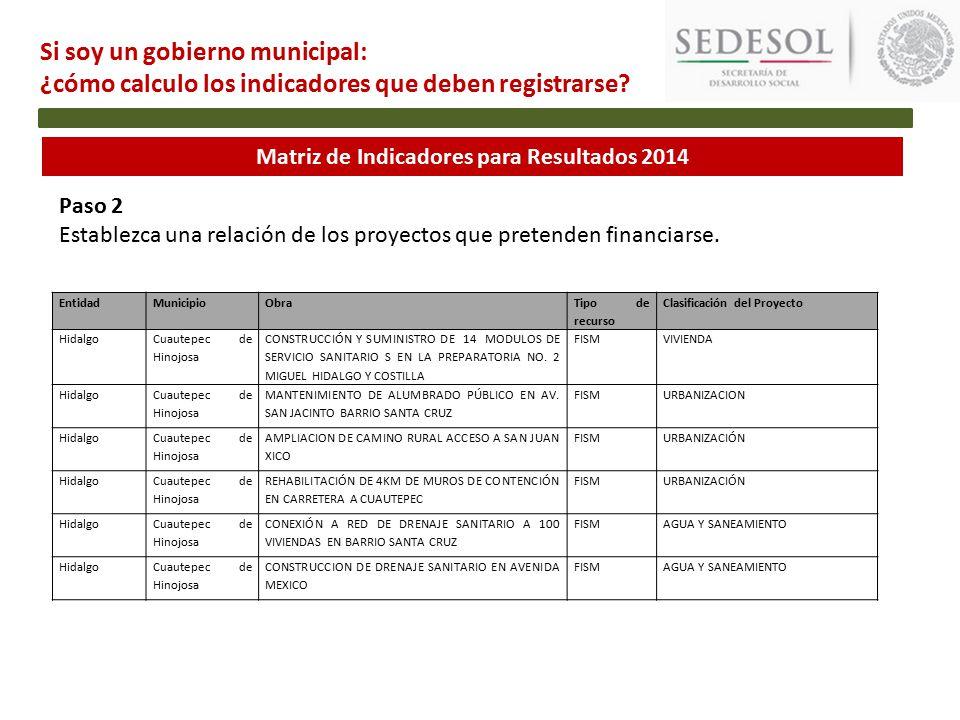 Matriz de Indicadores para Resultados 2014 Paso 2 Establezca una relación de los proyectos que pretenden financiarse.