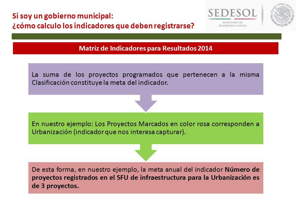 Matriz de Indicadores para Resultados 2014 De esta forma, en nuestro ejemplo, la meta anual del indicador Número de proyectos registrados en el SFU de infraestructura para la Urbanización es de 3 proyectos.