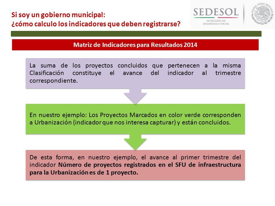 Matriz de Indicadores para Resultados 2014 De esta forma, en nuestro ejemplo, el avance al primer trimestre del indicador Número de proyectos registrados en el SFU de infraestructura para la Urbanización es de 1 proyecto.