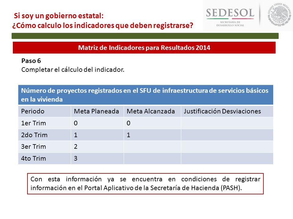 Matriz de Indicadores para Resultados 2014 Paso 6 Completar el cálculo del indicador.