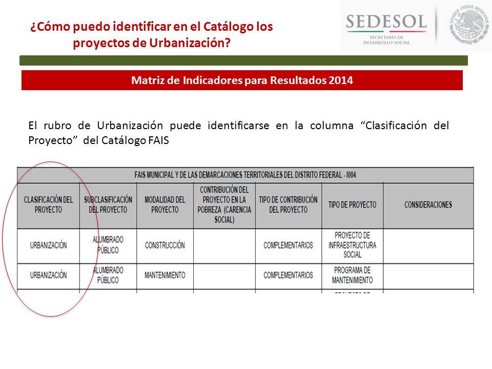 Matriz de Indicadores para Resultados 2014 ¿Cómo puedo identificar en el Catálogo los proyectos de Urbanización.