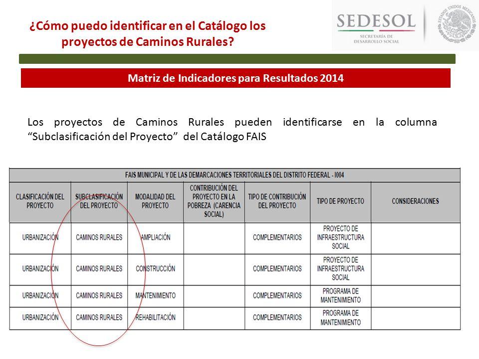 Matriz de Indicadores para Resultados 2014 ¿Cómo puedo identificar en el Catálogo los proyectos de Caminos Rurales.