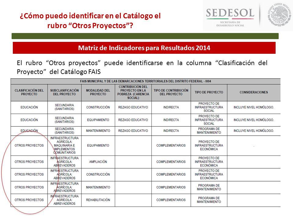 Matriz de Indicadores para Resultados 2014 ¿Cómo puedo identificar en el Catálogo el rubro Otros Proyectos .
