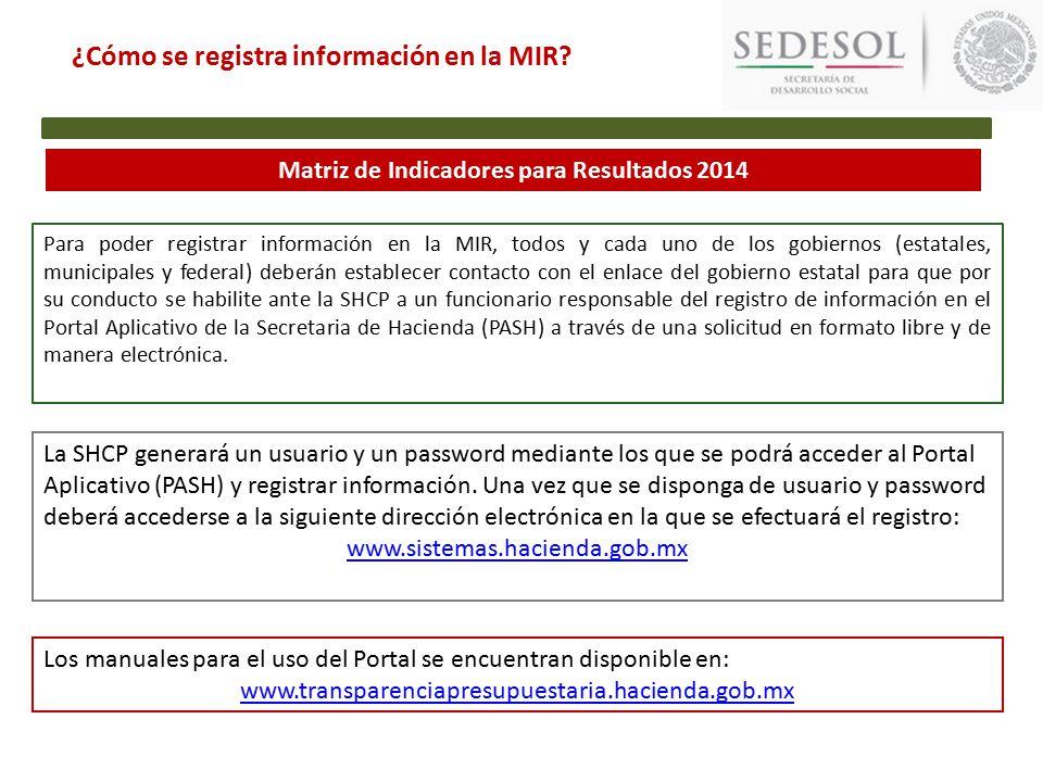 Matriz de Indicadores para Resultados 2014 ¿Cómo se registra información en la MIR.