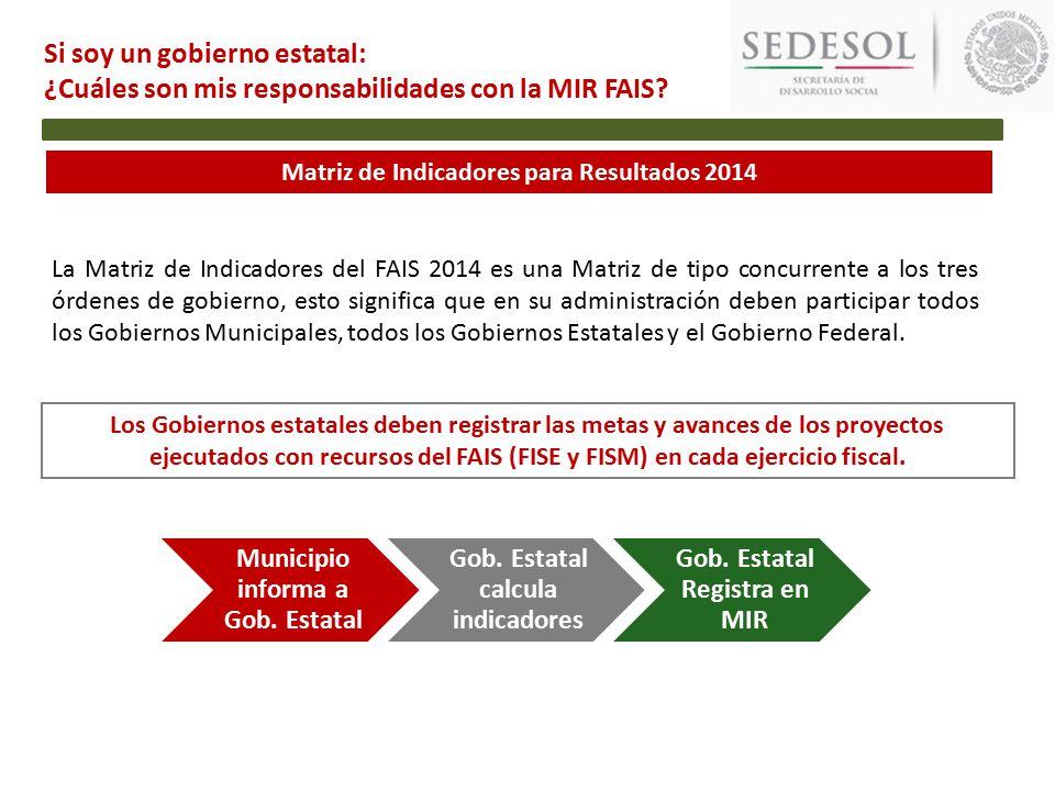 Matriz de Indicadores para Resultados 2014 Si soy un gobierno estatal: ¿Cuáles son mis responsabilidades con la MIR FAIS.