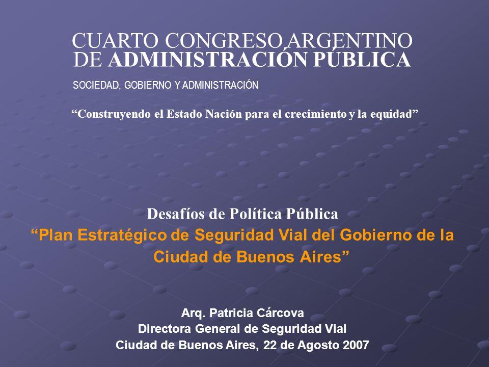 CUARTO CONGRESO ARGENTINO DE ADMINISTRACIÓN PÚBLICA SOCIEDAD, GOBIERNO Y ADMINISTRACIÓN Construyendo el Estado Nación para el crecimiento y la equidad Desafíos de Política Pública Plan Estratégico de Seguridad Vial del Gobierno de la Ciudad de Buenos Aires Arq.