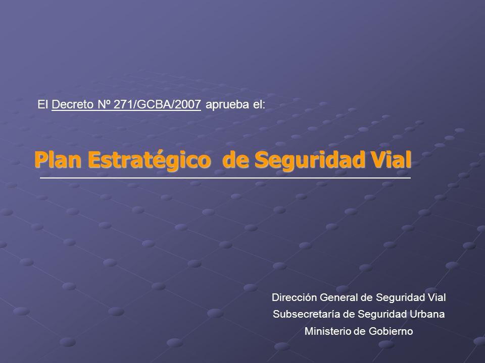 El Decreto Nº 271/GCBA/2007 aprueba el: Plan Estratégico de Seguridad Vial Dirección General de Seguridad Vial Subsecretaría de Seguridad Urbana Ministerio de Gobierno