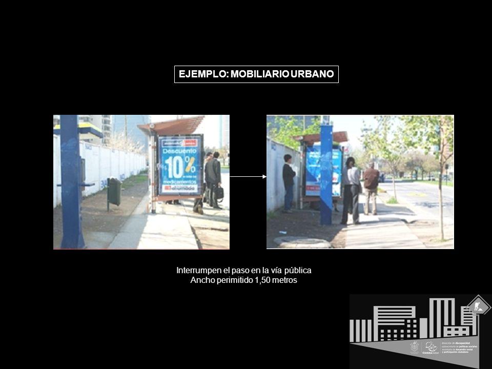 EJEMPLO: MOBILIARIO URBANO Interrumpen el paso en la vía pública Ancho perimitido 1,50 metros
