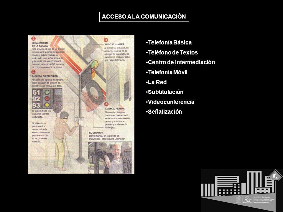 Telefonía Básica Teléfono de Textos Centro de Intermediación Telefonía Móvil La Red Subtitulación Videoconferencia Señalización ACCESO A LA COMUNICACIÓN
