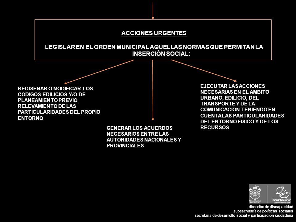 ACCIONES URGENTES LEGISLAR EN EL ORDEN MUNICIPAL AQUELLAS NORMAS QUE PERMITAN LA INSERCIÓN SOCIAL: REDISEÑAR O MODIFICAR LOS CODIGOS EDILICIOS Y/O DE PLANEAMIENTO PREVIO RELEVAMIENTO DE LAS PARTICULARIDADES DEL PROPIO ENTORNO EJECUTAR LAS ACCIONES NECESARIAS EN EL AMBITO URBANO, EDILICIO, DEL TRANSPORTE Y DE LA COMUNICACIÓN TENIENDO EN CUENTA LAS PARTICULARIDADES DEL ENTORNO FISICO Y DE LOS RECURSOS GENERAR LOS ACUERDOS NECESARIOS ENTRE LAS AUTORIDADES NACIONALES Y PROVINCIALES dirección de discapacidad subsecretaría de políticas sociales secretaría de desarrollo social y participación ciudadana