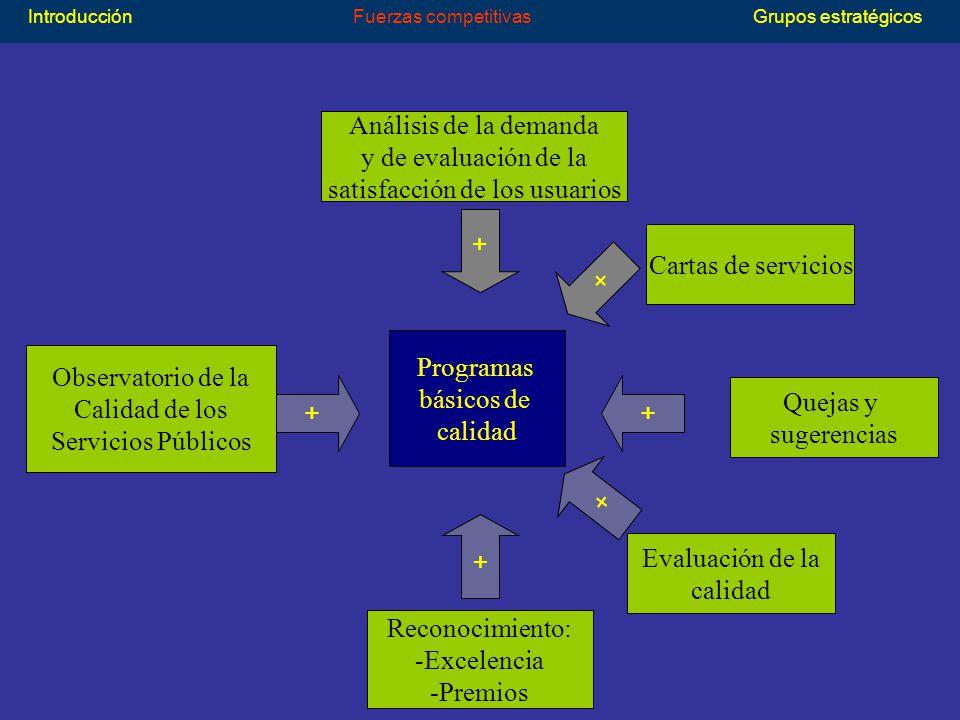 Análisis de la demanda y de evaluación de la satisfacción de los usuarios Quejas y sugerencias Cartas de servicios Evaluación de la calidad Observatorio de la Calidad de los Servicios Públicos Reconocimiento: -Excelencia -Premios + + + + + + Programas básicos de calidad IntroducciónFuerzas competitivasGrupos estratégicos