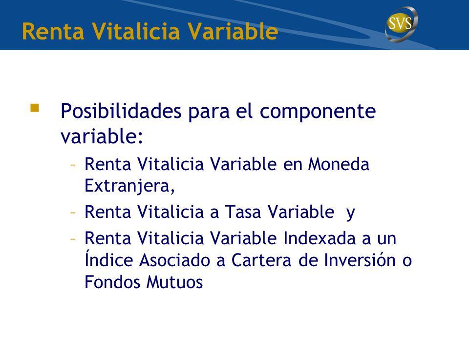 Renta Vitalicia Variable  Posibilidades para el componente variable: –Renta Vitalicia Variable en Moneda Extranjera, –Renta Vitalicia a Tasa Variable y –Renta Vitalicia Variable Indexada a un Índice Asociado a Cartera de Inversión o Fondos Mutuos
