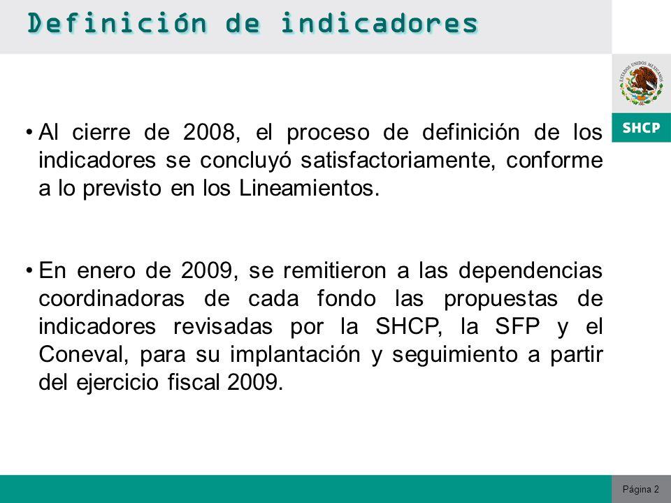 Página 2 Definición de indicadores Al cierre de 2008, el proceso de definición de los indicadores se concluyó satisfactoriamente, conforme a lo previsto en los Lineamientos.