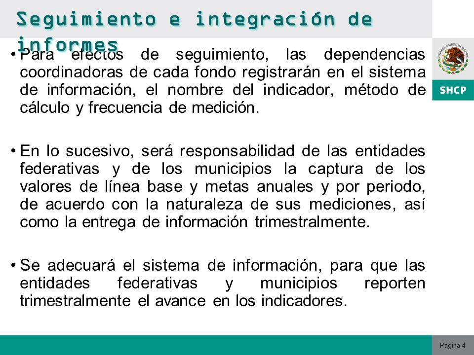 Página 4 Para efectos de seguimiento, las dependencias coordinadoras de cada fondo registrarán en el sistema de información, el nombre del indicador, método de cálculo y frecuencia de medición.
