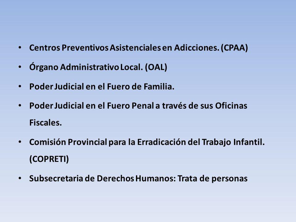 Centros Preventivos Asistenciales en Adicciones. (CPAA) Órgano Administrativo Local.
