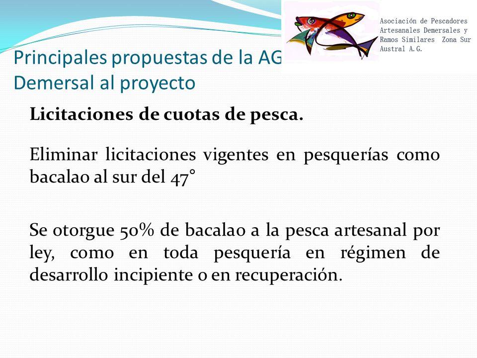 Principales propuestas de la AG Demersal al proyecto Licitaciones de cuotas de pesca.