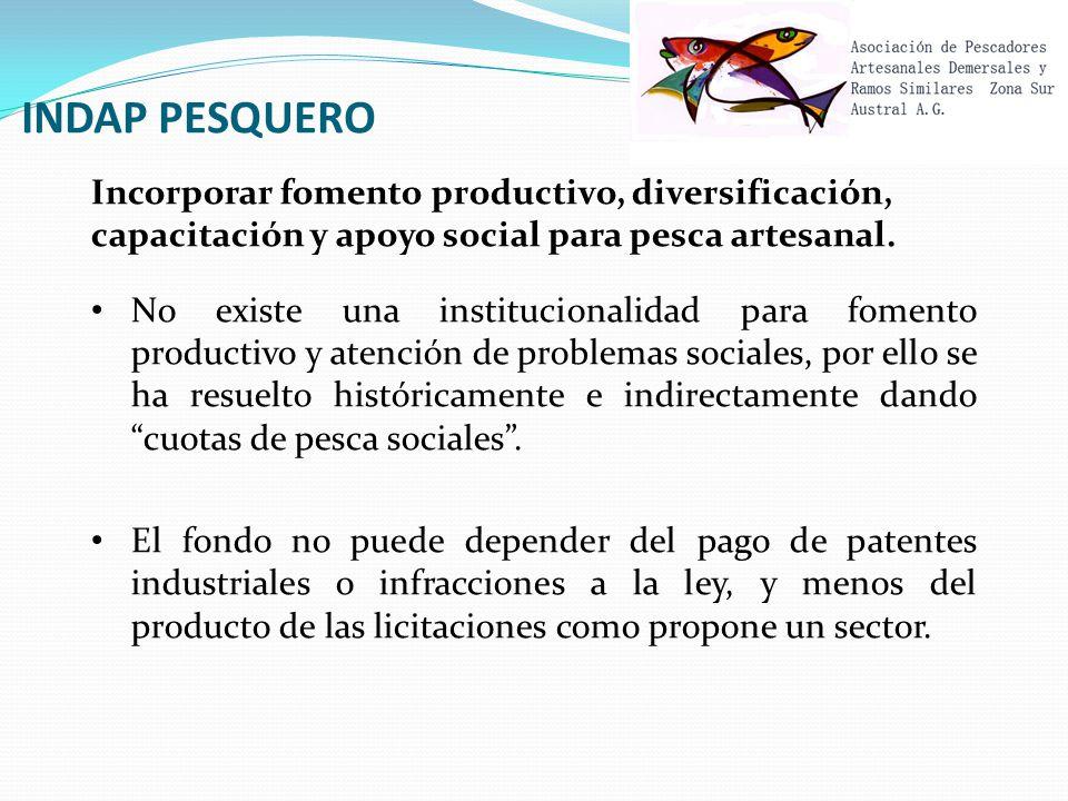 INDAP PESQUERO Incorporar fomento productivo, diversificación, capacitación y apoyo social para pesca artesanal.