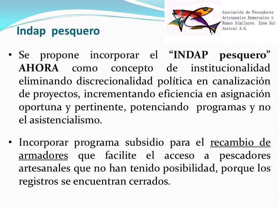 Indap pesquero Se propone incorporar el INDAP pesquero AHORA como concepto de institucionalidad eliminando discrecionalidad política en canalización de proyectos, incrementando eficiencia en asignación oportuna y pertinente, potenciando programas y no el asistencialismo.