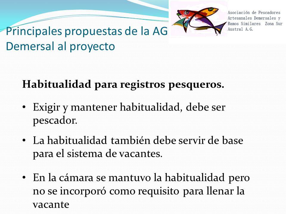 Principales propuestas de la AG Demersal al proyecto Habitualidad para registros pesqueros.