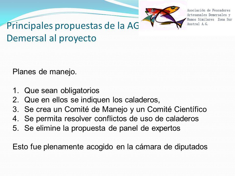 Principales propuestas de la AG Demersal al proyecto Planes de manejo.