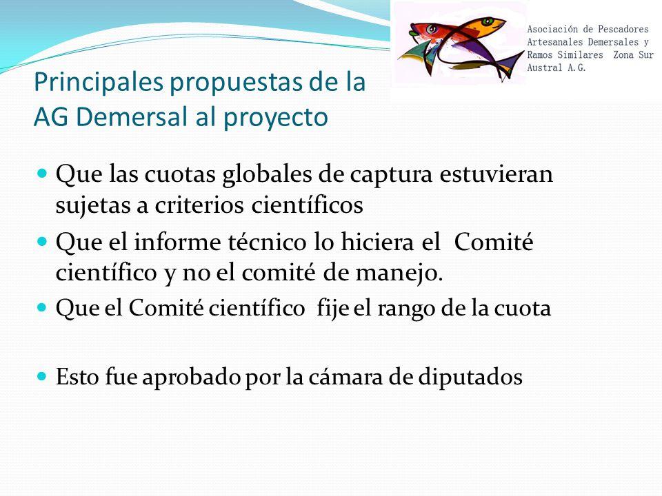 Principales propuestas de la AG Demersal al proyecto Que las cuotas globales de captura estuvieran sujetas a criterios científicos Que el informe técnico lo hiciera el Comité científico y no el comité de manejo.