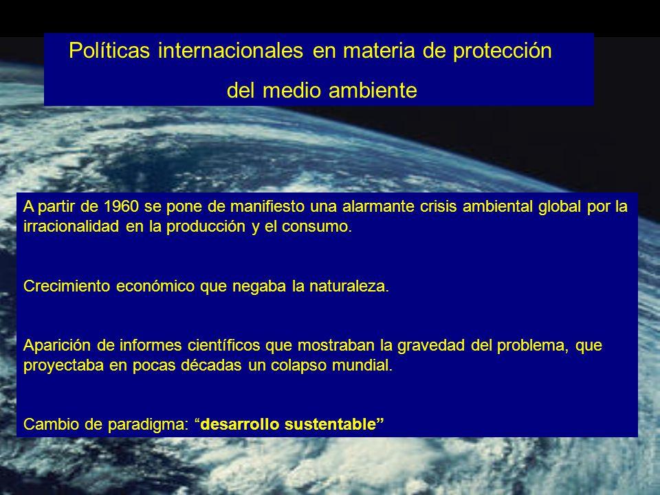 Políticas internacionales en materia de protección del medio ambiente A partir de 1960 se pone de manifiesto una alarmante crisis ambiental global por la irracionalidad en la producción y el consumo.