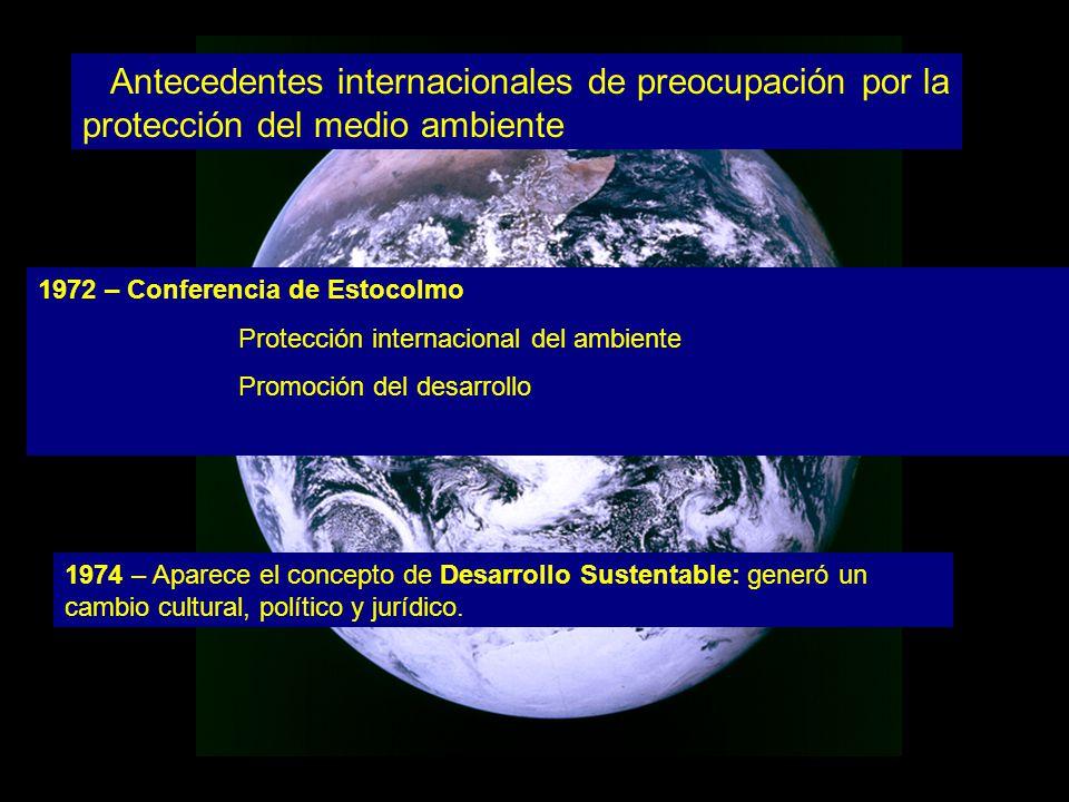 Antecedentes internacionales de preocupación por la protección del medio ambiente 1972 – Conferencia de Estocolmo Protección internacional del ambiente Promoción del desarrollo 1974 – Aparece el concepto de Desarrollo Sustentable: generó un cambio cultural, político y jurídico.