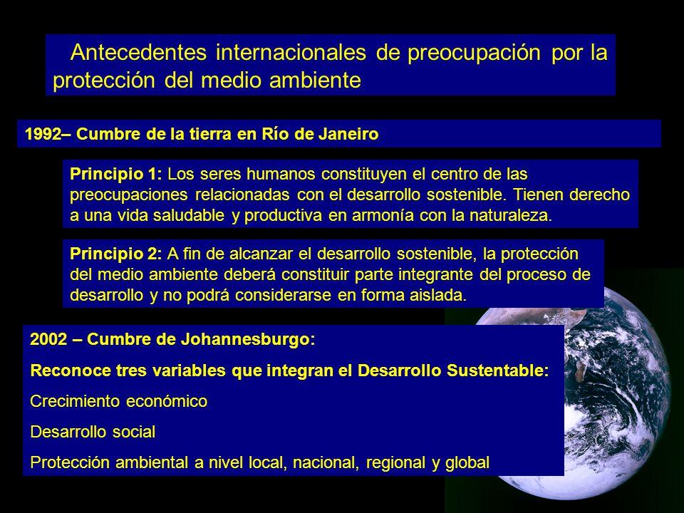 Antecedentes internacionales de preocupación por la protección del medio ambiente 1992– Cumbre de la tierra en Río de Janeiro Principio 1: Los seres humanos constituyen el centro de las preocupaciones relacionadas con el desarrollo sostenible.