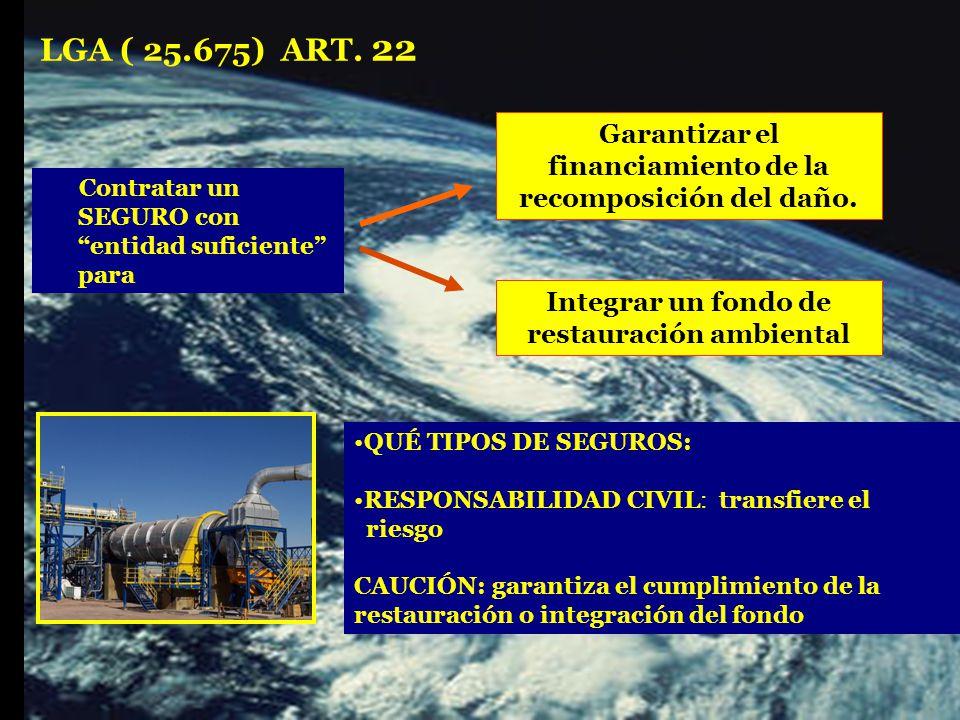 Contratar un SEGURO con entidad suficiente para Garantizar el financiamiento de la recomposición del daño.