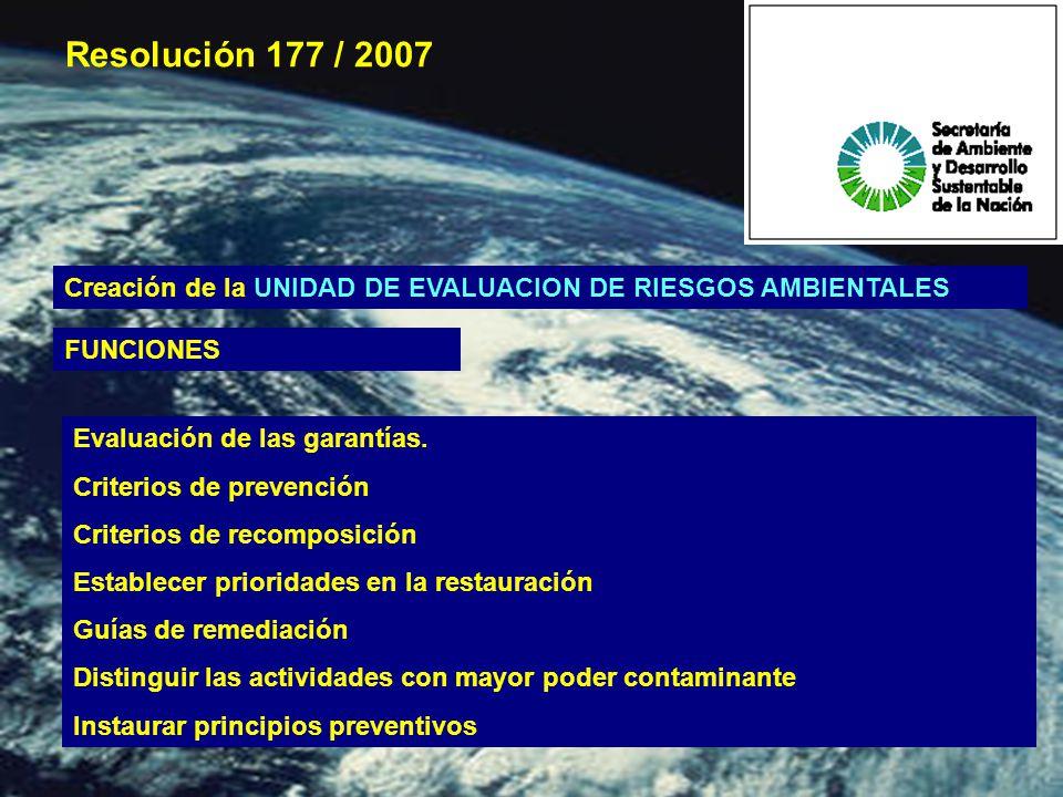 Creación de la UNIDAD DE EVALUACION DE RIESGOS AMBIENTALES Evaluación de las garantías.