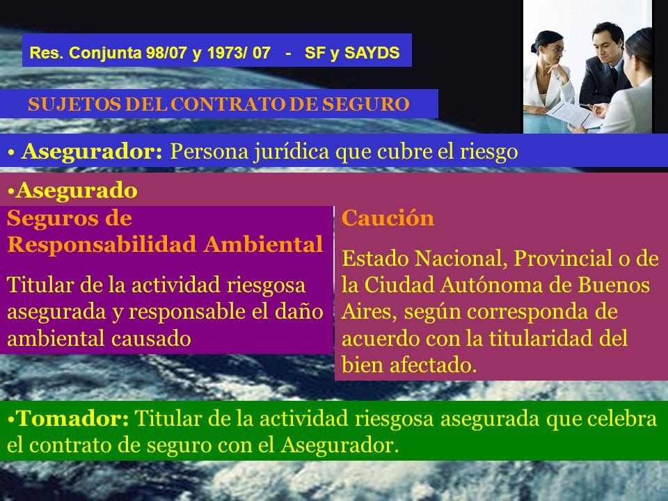 Asegurador: Persona jurídica que cubre el riesgo SUJETOS DEL CONTRATO DE SEGURO Res.