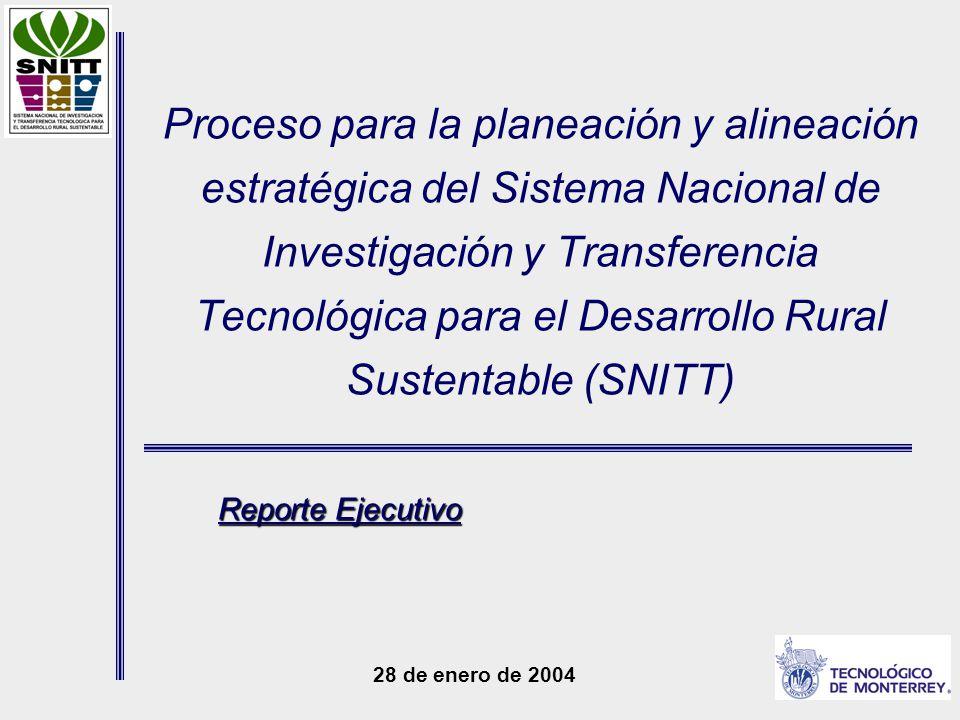 Proceso para la planeación y alineación estratégica del Sistema Nacional de Investigación y Transferencia Tecnológica para el Desarrollo Rural Sustentable (SNITT) 28 de enero de 2004 Reporte Ejecutivo