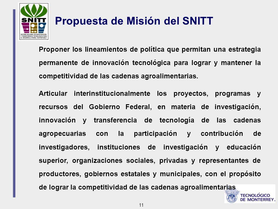 11 Propuesta de Misión del SNITT Proponer los lineamientos de política que permitan una estrategia permanente de innovación tecnológica para lograr y mantener la competitividad de las cadenas agroalimentarias.