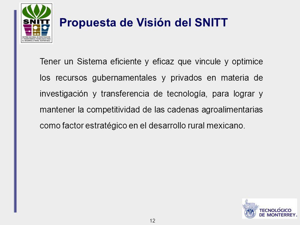 12 Propuesta de Visión del SNITT Tener un Sistema eficiente y eficaz que vincule y optimice los recursos gubernamentales y privados en materia de investigación y transferencia de tecnología, para lograr y mantener la competitividad de las cadenas agroalimentarias como factor estratégico en el desarrollo rural mexicano.