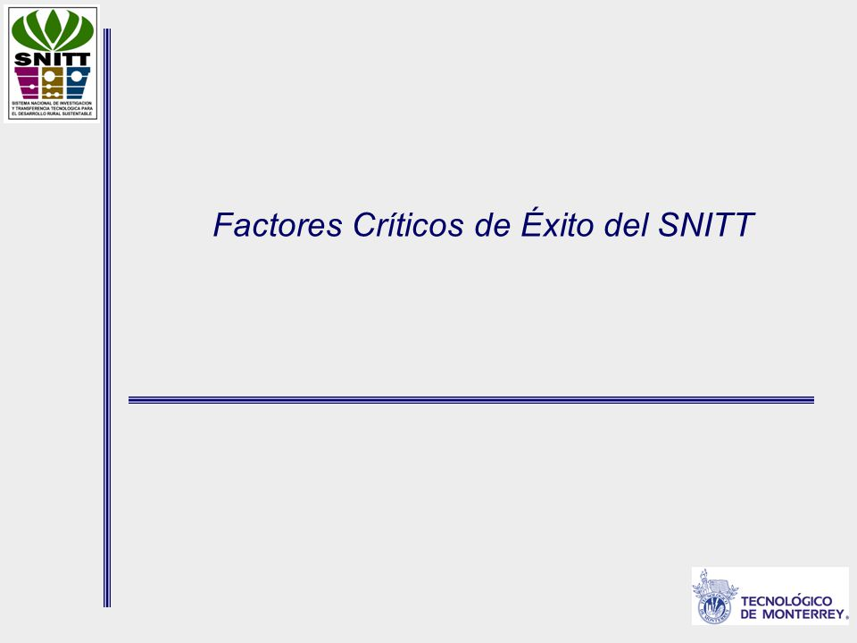 Factores Críticos de Éxito del SNITT