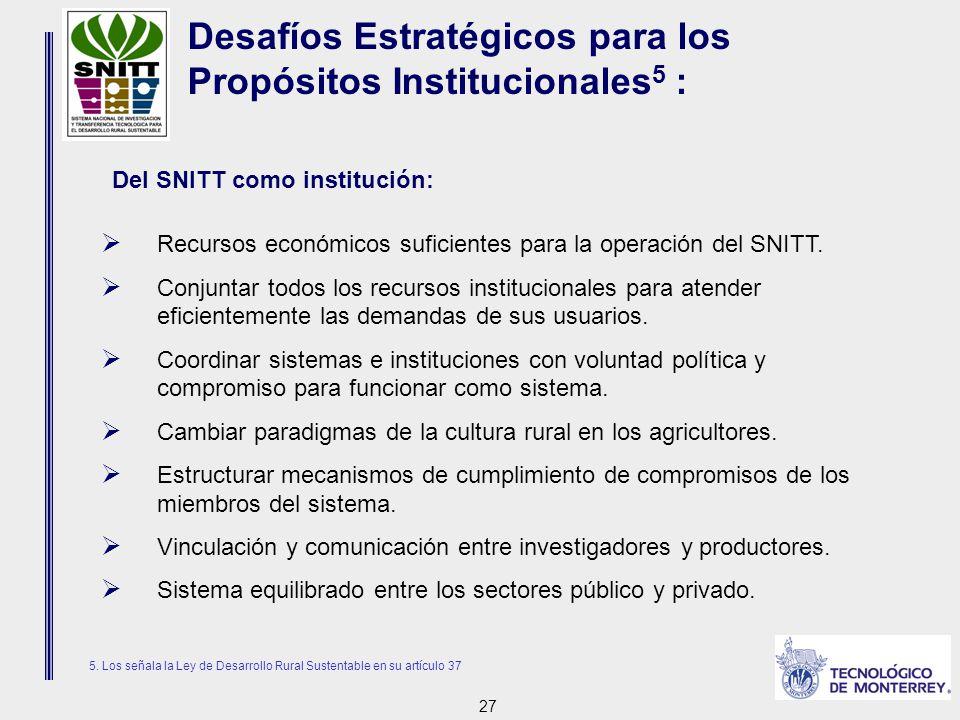 27  Recursos económicos suficientes para la operación del SNITT.