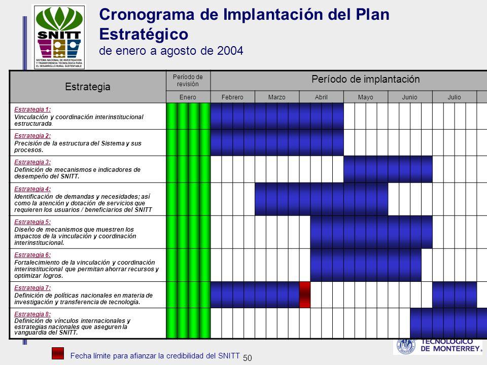 50 Cronograma de Implantación del Plan Estratégico de enero a agosto de 2004 Estrategia Período de revisión Período de implantación EneroFebreroMarzoAbrilMayoJunioJulioAgosto Estrategia 1: Vinculación y coordinación interinstitucional estructurada.