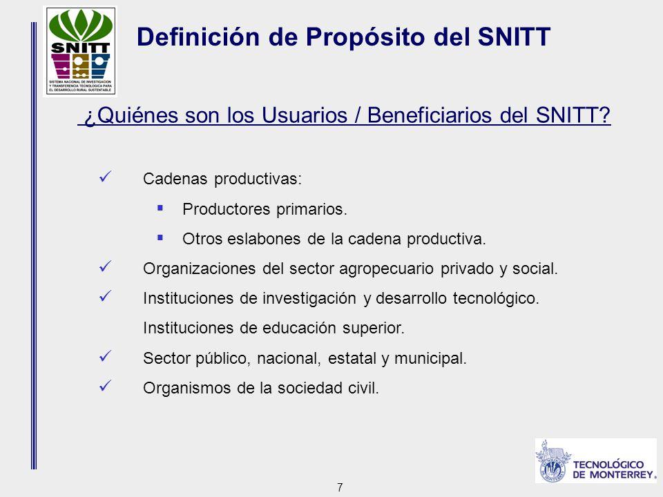 7 ¿Quiénes son los Usuarios / Beneficiarios del SNITT.