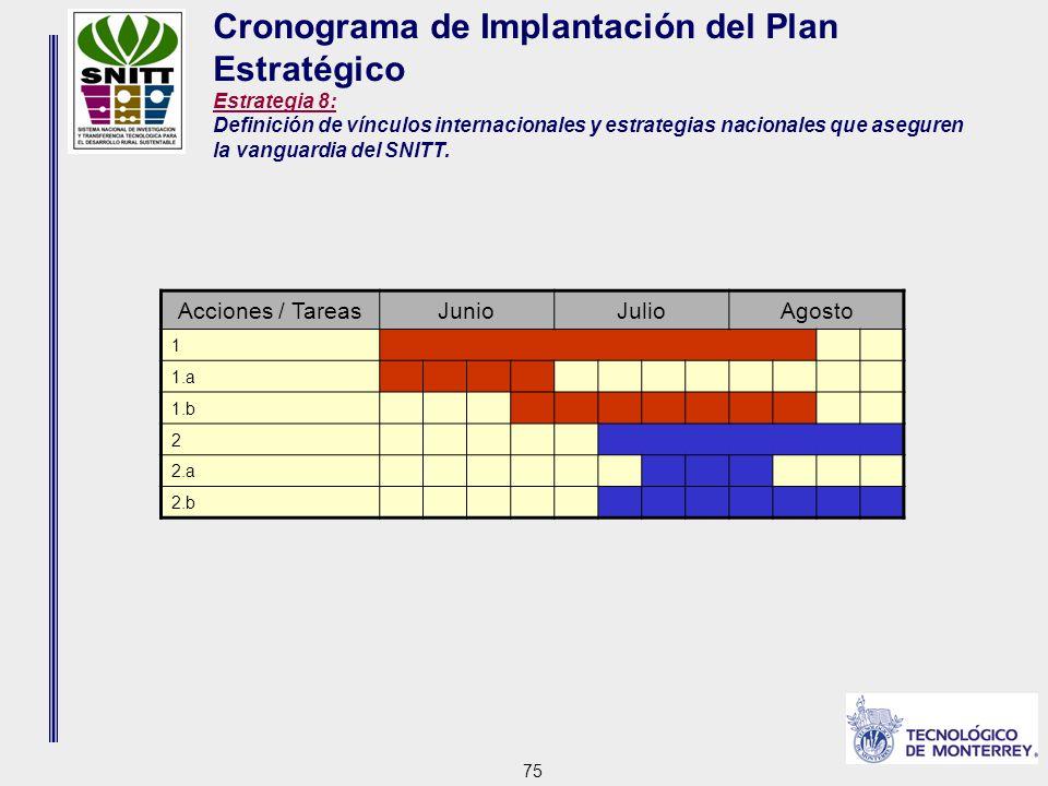 75 Cronograma de Implantación del Plan Estratégico Estrategia 8: Definición de vínculos internacionales y estrategias nacionales que aseguren la vanguardia del SNITT.