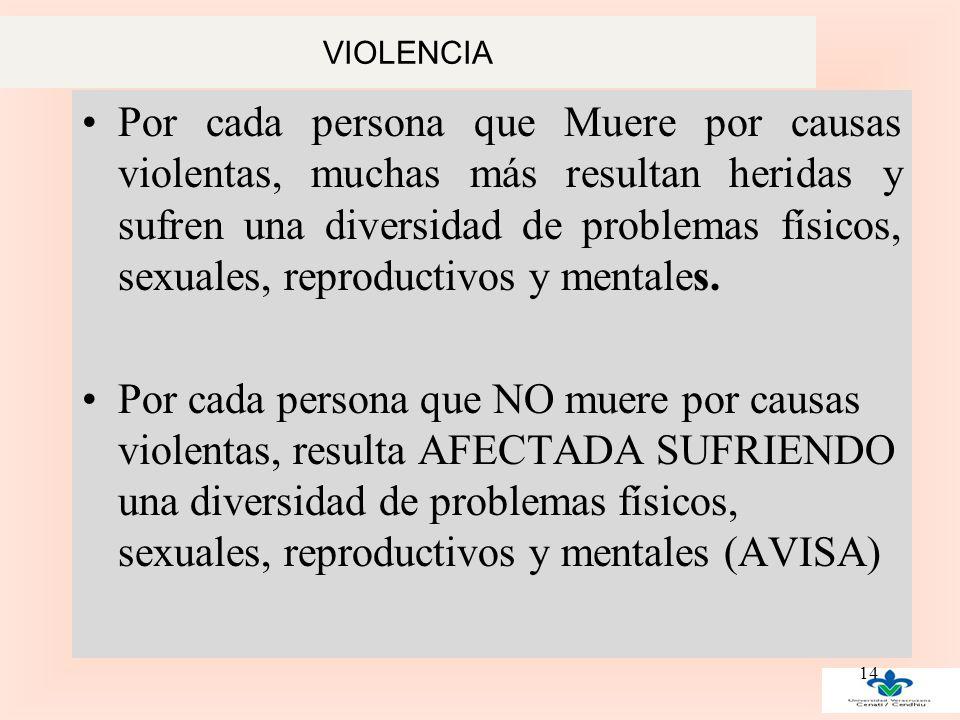 VIOLENCIA Por cada persona que Muere por causas violentas, muchas más resultan heridas y sufren una diversidad de problemas físicos, sexuales, reproductivos y mentales.